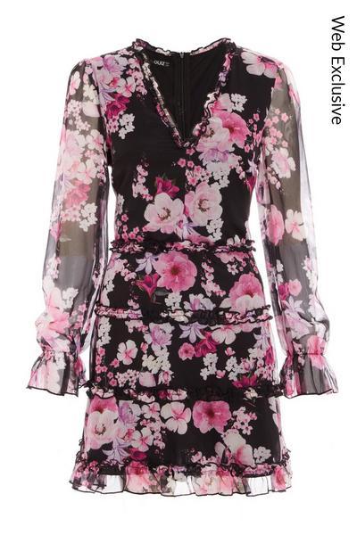 Black Floral Chiffon Skater Dress